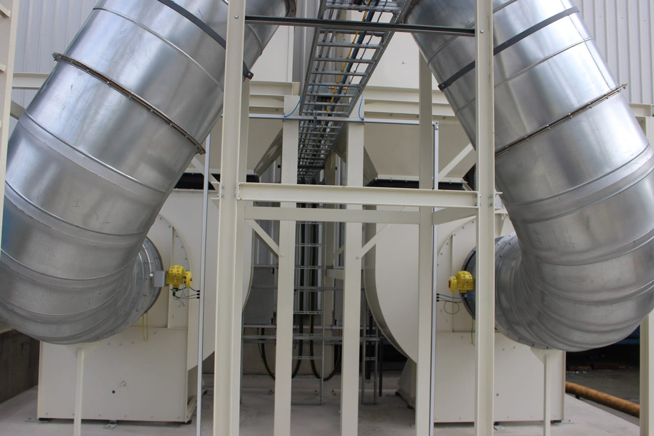 Clean Side Dust Extraction Fans on PVC Extraction System