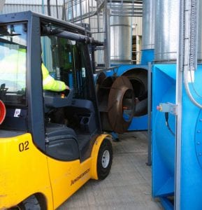 Dust Fan Impeller Removed with Fork Lift Truck during servicing