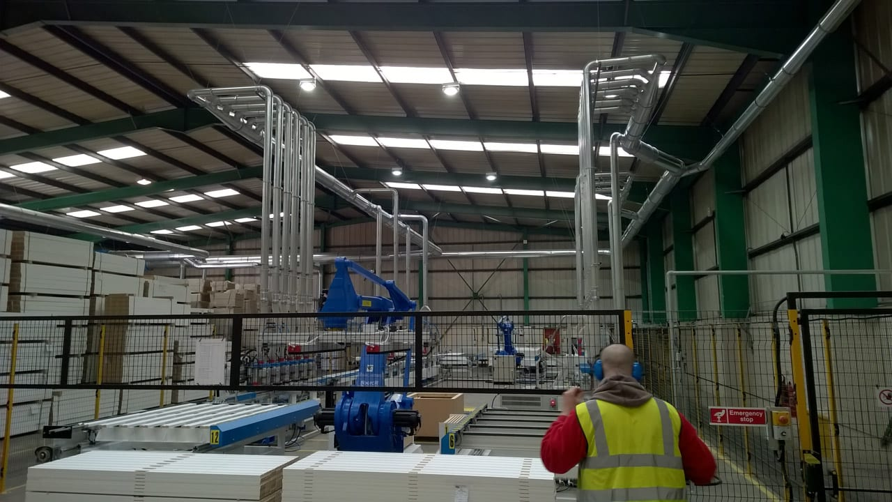 QF Ducting System Serving Automated MDF Moulding Line