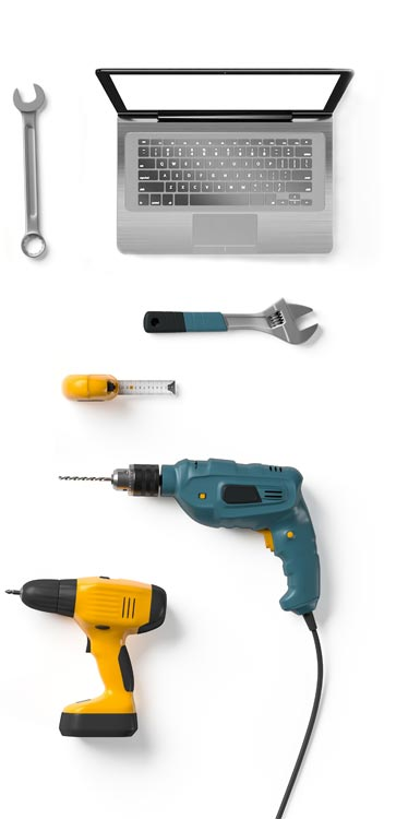 Hand tools on white background